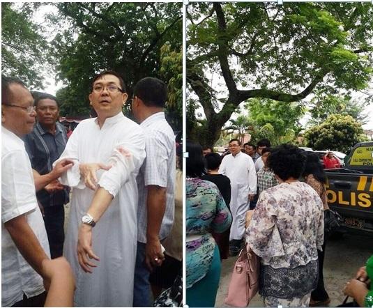 pastor albert pandiangan serangan di gereja st joseph medan